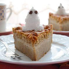 Pumpkin Magic Cake - autumn flavor of the amazing 1 batter-3 layers-magic cake. Love (minus the ghost!)