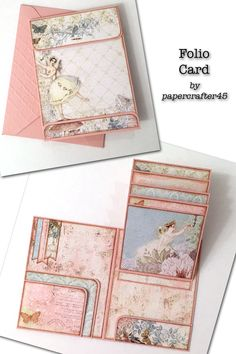 """This cute Folio Card fits in a standard A2 envelope & is great for mailing! The front resembles a clasp envelope. The inside has pockets & waterfall flaps. Measures 4"""" x 5-1/4"""". YouTube tutorial by papercrafter45."""