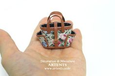 Flower green pattern miniature Designer Artisan handmade purse handbag for 1:12 dollhouse via Etsy