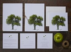 {Garden Wedding} Ben and Gemma were married in Brookfield, Brisbane in a garden wedding. Gemma wanted invites which matched the garden theme. Apples were used in the centre pieces on the tables all set under a white marquee.