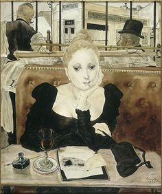 Tsuguhara Foujita, In the Café, 1949...I had to pin this as a print of this painting hung in my Aunts home for fifty years.