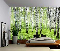 Birch Tree Forest   Large Wall Mural, Self Adhesive Vinyl Wallpaper, Peel U0026  Stick Fabric Wall Decal