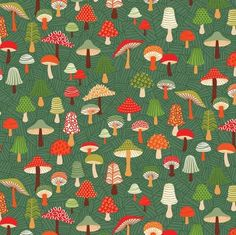 Makower UK - Forest Friends - Toadstools in Teal Pockets on red corderoy dress Cotton Crafts, Fabric Crafts, Dark Green Background, Andover Fabrics, Forest Creatures, Mini Crib, Forest Friends, Fabulous Fabrics, Modern Fabric