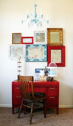 Vintage frames and desk.  My desk is very similar - could be cute in my room painted red or navy.