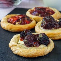 Quick Cream Cheese Danish - only 3 ingredients! Use whatever fruits and berries you like to make these gorgeous little pastries.