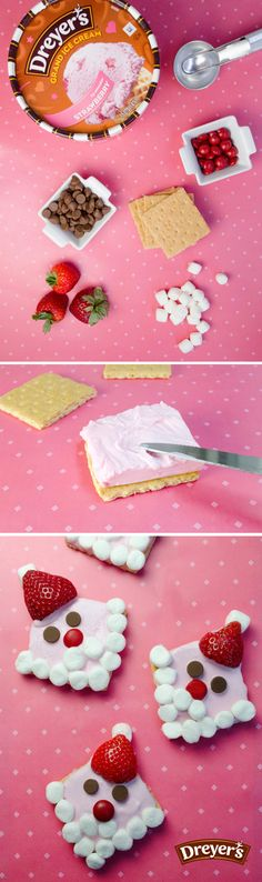 Dreyer's Graham Cracker Santa: This treat is just as merry as Santa Claus himself! Simply spread Dreyer's strawberry ice cream onto graham cracker squares and decorate with mini marshmallows, red candies, chocolate chips and a strawberry for the hat. It's a festive treat with festive taste!