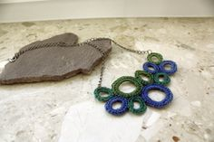Circles crochet Necklace in Blue and Green by whitewolfsclouds