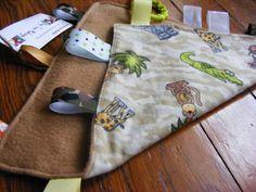 Crinkle tag rag sensory blanket jungle safari by NapTimeMakings, $12.00