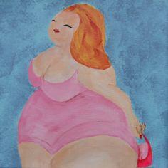 Schilderij van BarberaB - Dikke Dame in roze badpak - Acryl op doek - 20x20