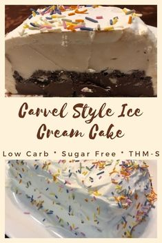 This is a sugar free version of the Carvel ice cream cake. Chocolate crunch, sandwiched between layers of chocolate and vanilla ice cream and topped with whipped frosting. S on Trim Healthy Mama! Sugar Free Desserts, Low Carb Desserts, Dessert Recipes, Ketosis Desserts, Diabetic Desserts, Thm Recipes, Healthy Recipes, Keto Snacks, Chocolate Crunch