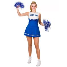 Blue high school #cheer#leader costume and pom poms womens #cheer #leader #uniform, View more on the LINK: http://www.zeppy.io/product/gb/2/301842867713/