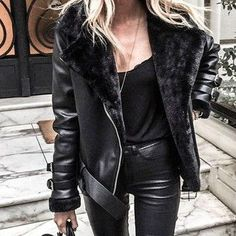 Leather jacket leather leggings blonde hair all black outfit