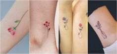 Watercolor tiny flower tattoos
