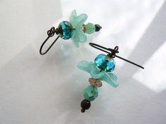 Aqua Fairy Flower Earrings  Drop Earrings  Flower by 3pearls