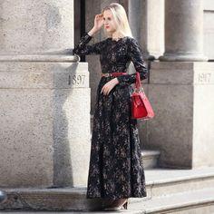 HIGH QUALITY New Fashion 2016 Women's Long Sleeve Elegant Black Lace Floral Maxi Long Dress Plus size S-3XL