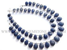 7 Inch Blue Sapphire Beads In Pear Smooth Shape, (Quality B), 5x7 to 7x10 mm, 18 cm, SA-031, Semiprecious Gemstone Beads #bluesapphire #bluesapphirebeads #bluesapphirebead #bluesapphirepear #pearbeads #beadswholesaler #semipreciousstone #gemstonebeads #beadsogemstone #beadwork #beadstore #bead