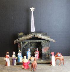 Vintage Plastic Nativity Figurines // 10 Pieces by MyBarn on Etsy