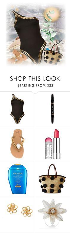 """~ Swimsuit ~"" by monicahearts ❤ liked on Polyvore featuring Norma Kamali, Bobbi Brown Cosmetics, Giuseppe Zanotti, Clinique, Shiseido, Soeur Du Maroc, Rodarte, Alice + Olivia, Summer and beach"
