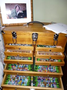 Here is a beautiful wood tool box being used as Trollbeads storage. This tool box would be great for storage of all kinds! -- I have one for my Zuni fetish carving collection. Bead Organization, Bead Storage, Craft Storage, Jewellery Storage, Jewellery Display, Old Tool Boxes, Wood Tool Box, Knitting Needle Storage, Knitting Needles