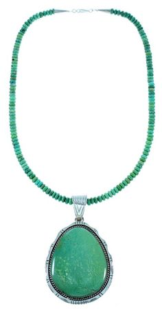 Native American Genuine Sterling Silver Turquoise Bead Necklace And Pendant Set
