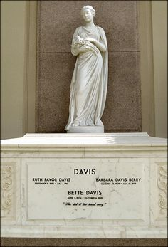 BETTE DAVIS' GRAVE  at Forest Lawn Hollywood Hills  in Los Angeles, California