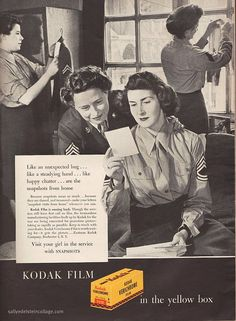 This Kodak film ad from the 1940s really caught my attention because it was geared not towards the fighting men of the day (as many ads of the time were), but because it targeted women who were in the service. Love that. #vintage #film #Kodak #ad #1940s #forties #WW2 #military