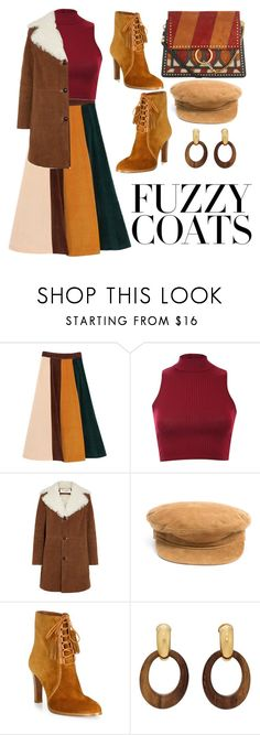 """""""Fuzzy Coats"""" by joiceleo ❤ liked on Polyvore featuring Pilot, Yves Saint Laurent, Olive & Pique, Michael Kors, Goossens and Chloé"""