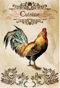 Vintage Labels, Vintage Postcards, Vintage Images, French Vintage, Papel Vintage, Vintage Paper, Vintage Art, Chicken Painting, Rooster Art