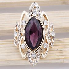 Women 14K Gold Filled Size 8.5 Amethyst Austrian Crystal Leaf Ring Jewelry F437