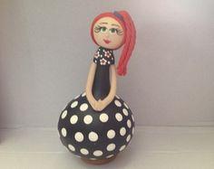 Cabaça - boneca vestido poá