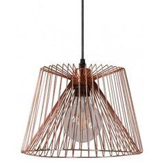 Stylowa, miedziana lampa Vinti Cooper wykonana z metalu. Dostępna w dwóch rozmiarach. http://blowupdesign.pl/pl/35-lampy-klatki-metalowe-loft-design# #lampyklatki #lampyzklatką #lampymiedziane #lampywiszące #oświetlenie #cagelamps #modernlighting