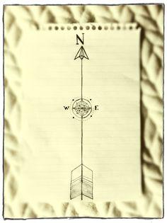Arrow/ compass tattoo concept