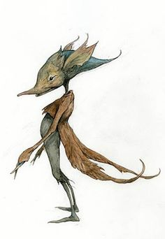 Leaf Coat - Pencil, coloured pencil, watercolour #froud #brianfroud