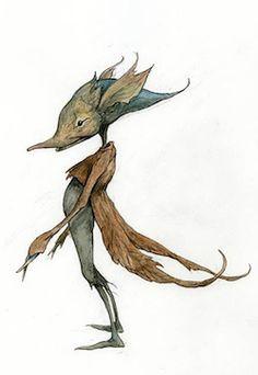 Leaf Coat - Pencil, coloured pencil, watercolour #froud #brianfroud