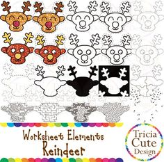 Glitter Reindeer Worksheet Elements Clipart! Contained in the zip file are 20 PNG files with transparent background , 300dpi and high resolution.This set includes 4 colored images and 16 black and white image.They are great for creating worksheets for tracing, cutting, drawing, counting, etc.