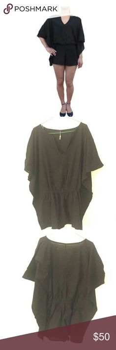 """Indah Metis Black Romper Deep V neck short romper with elastic waist and flowy bell sleeves. 100% rayon Neckline to hem measures approx 52"""" in length Unlined.You can use for a beach cover-up, casual style. Great for summer! Indah Pants Jumpsuits & Rompers"""