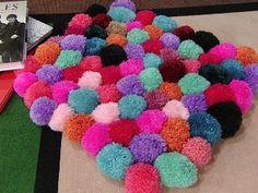 alfombras de pompones de lana diferentes colores y tamaos