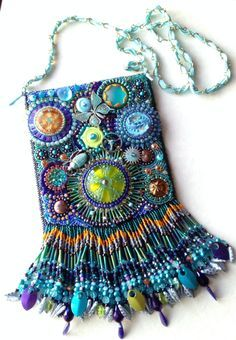 Original bead embroidery handbag purse by Merrell Hickey, Studios on Sheridan, Peoria, IL