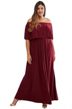 70c9c81d047 Burghundy Plus Size Ruffle Off Shoulder Dress 1X-3X  Unbranded  Maxi  Casual