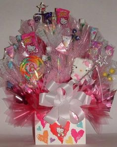 HELLO KITTY Designer Candy Bouquet Centerpiece An by CandyFlorist, $59.00