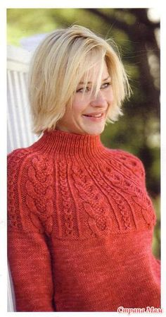 Красный свитер с рельефной кокеткой - Вязание - Страна Мам