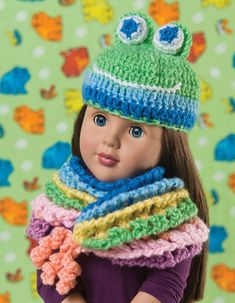 """Free Crochet Pattern: Cowl And Critters hat & scarf for 18"""" doll (American Girl Dolls)"""