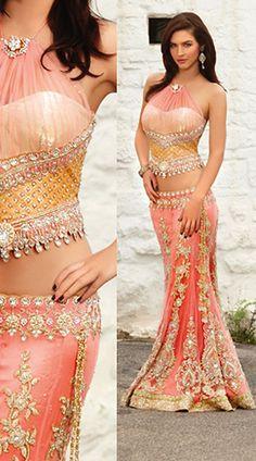 IBRSWL79 Peach Designer Lehnga Choli - IndiaBazaarOnline Shopping Store