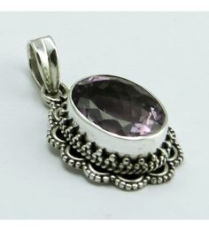 Judith !! Purple Amethyst 925 Sterling Silver Pendant, Weight: 5.7 g, Stone - Amethyst, Size - 3.2 x 1.8 cm, Wholesale Orders Acceptable, All Pieces have 925 Stamp