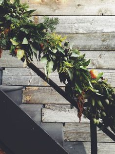 Similar length and width of balustrade flowers and greenery. white blooms to be clustered in amongst, reusing chuppah flowers and greenery Wedding Stairs, Seasonal Decor, Holiday Decor, Shabby, Design Seeds, Holy Night, Tis The Season, Winter Season, Christmas Time