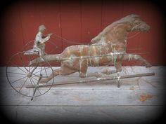 Vintage Antique Copper Weathervane Sulky Rider Horse American Folk Art | eBay