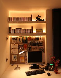 Home office with a John Cullen lighting scheme Cove Lighting, Lighting Design, Lighting Ideas, Display Lighting, Design Your Home, House Design, Hampstead House, Bookshelf Lighting, Small Space Office