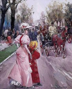 Juan Soler (Spanish, b. Illustrations Vintage, F Pictures, Spanish, Mixed Media, Victorian, Painting, Cabriolet, Dresses, Fashion
