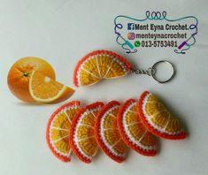 Slice fruit Keychain  Crochet orange