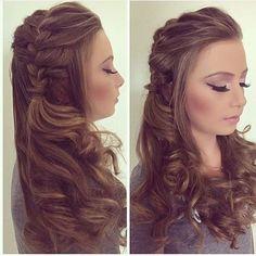 Side Braided Hair With Curls Hair Styling Pinterest Hair